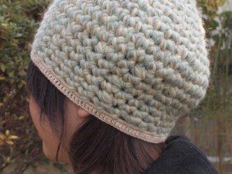 杢糸の壺型きのこニット帽【水色系】の画像