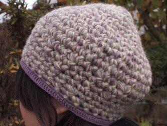 杢糸の壺型きのこニット帽【パープル系】の画像