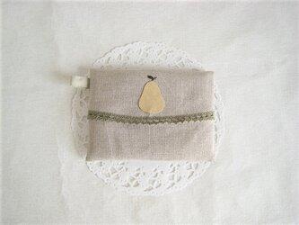 かわいい洋ナシのポケットティッシュケース(リネン)の画像