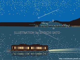 版画作品 湘南イラスト「夜想」 (江ノ島&江ノ電と夜景とイルミネーション&流れ星のイラスト)の画像