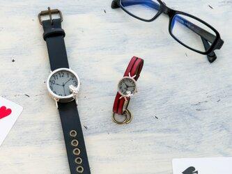 池をのぞくカエル腕時計グレーLとSS(Si)の画像