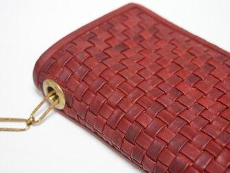 ボリュームメッシュお財布bag#redbrownの画像