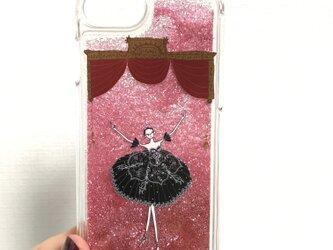 (iPhone)プリマ黒 グリッターケース(ピンク)の画像