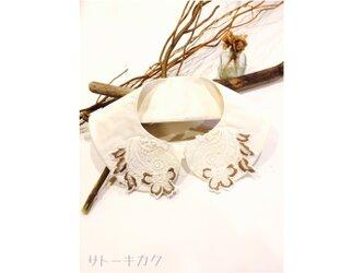 つけ襟☆白シルクシャンタン×刺繍レース(ベージュ)【送料無料】の画像