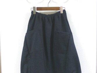 上質フラノウール チャコールグレー バルーンスカートの画像