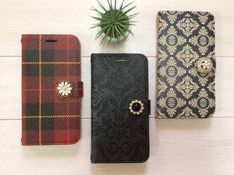 iPhoneXケース 手帳型 ☆選べる飾り&デザインケースの画像