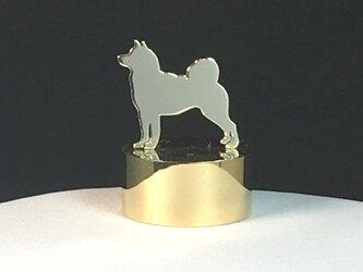 Paper Weight Dog-26 SV+Brass ペーパーウエイト 柴犬<受注制作>の画像