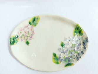 新作 紫陽花のパステルカラー楕円皿の画像