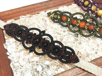 天然石のマクラメ編み帯留【ゴシック調】(ブラック系・オニキス)の画像