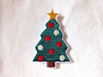 刺繍ブローチ 「クリスマスツリー」の画像