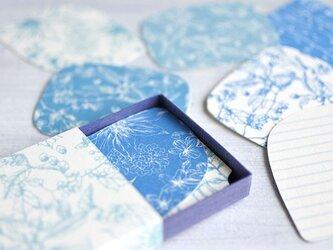 ブルー系*ボタニカル柄メッセージカードBOXの画像