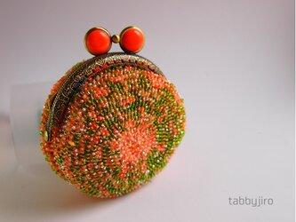 ビーズ編みのがま口-マカロン型の画像