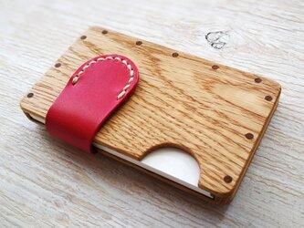 a card case ホワイトオーク×ピンク 木と革の名刺入れの画像