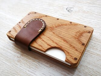 a card case ホワイトオーク×ブラウン 木と革の名刺入れの画像