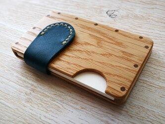 a card case ホワイトオーク×ブルー 木と革の名刺入れの画像