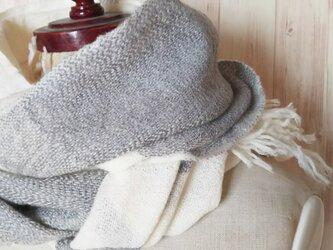 手織り ふんわり平綾織りミックスのカシミヤストール    322の画像