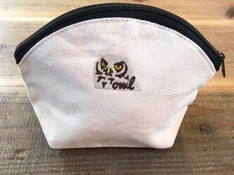 フクロウ 刺繍 キャンバスシェルポーチの画像