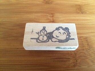 はんこ  つかの間のひと時 お相撲さんと雪だるまの画像