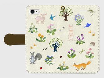 iPhone/手帳型スマホケース「野の花と生きもの」(受注生産)の画像