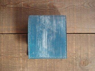 二つ折り財布 box-b  青ワックス【受注製作】の画像