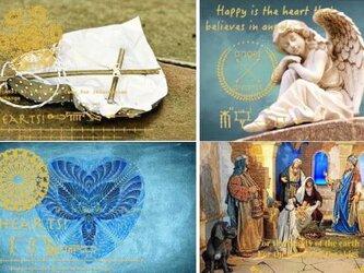 金箔ヒエログリフ「天使マリア紋章B」厚盛メッセージカード 5枚セット GLICAの画像