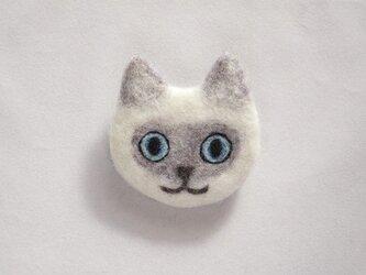 【受注制作】猫顔フェルトブローチ(ポイント)の画像