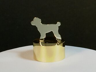 Paper Weight Dog-13 SV+Brass Toy Poodle ペーパーウエイト トイプードル[受注制作]の画像