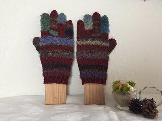 【受注生産】★★☆手編みのカラフル5本指手袋(^^♪☆★の画像