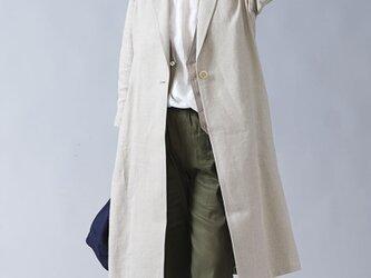 【wafu】中厚 リネン羽織 アウター ロング丈 ショールカラーコート ヘチマ襟/亜麻ナチュラル h008a-amn2の画像