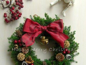 限定☆フォレストグリーンのオールドカラークリスマスリース~ミドルの画像