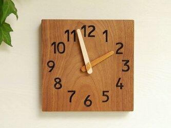 19cm×19cm 掛け時計 ウォールナット【1729】の画像