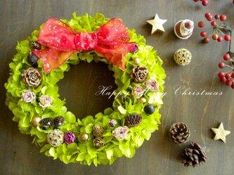 木の実キラキラグリーンアジサイのクリスマスリースの画像