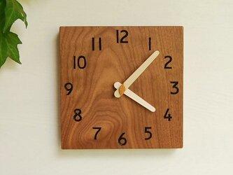 19cm×19cm 掛け時計 ウォールナット【1730】の画像