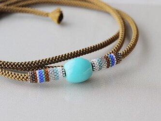 帯締め*stripe/turquoiseの画像