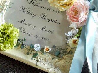 ウェディング ウェルカムボード(アンティークホワイトフレーム&ピンク&ブルー)結婚式/受注製作の画像