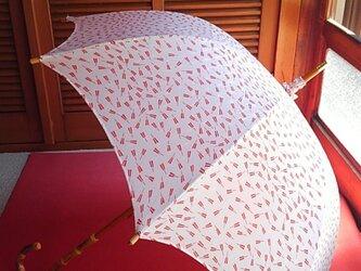 日傘 赤い扇子がかわいいの画像