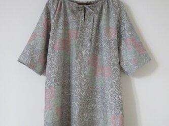 バラ模様紬のチュニックワンピースの画像