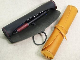 (受注生産)円筒型ペンケース【革・糸色選択可】の画像