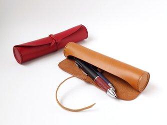 革ひもで結ぶ 本革製 円筒型ペンケース 筆入れ【受注生産/革5色・糸10色選択 総手縫い】の画像