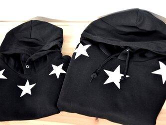 ブラック×ホワイト☆80~大人サイズまで★2枚セットです!親子&兄弟&姉妹&お友達と*お揃いコーデ★星プリントの画像