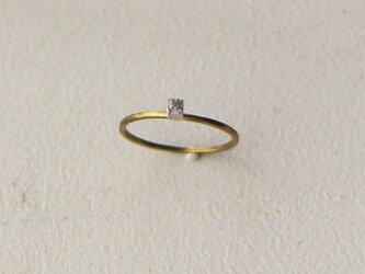 真鍮リング 銀の立方の画像