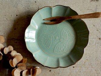 ちいさなお皿 蝶 エメラルドグリーン系の画像