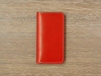 牛革 iPhoneXS/Xカバー  ヌメ革  レザーケース  手帳型  レッドカラーの画像