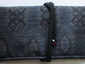 送料無料 藍大島紬で作った和風財布・ポーチ 3096の画像