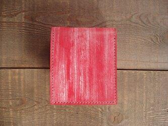 二つ折り財布 box-a  赤ワックス【受注製作】の画像