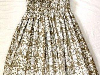 シングルパウスカート ボタニカル柄 スカート丈74cm ココナッツ色[pu-174s74の画像