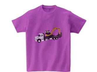 車Tシャツ-フラットベッドトラックとショベルカー(ラベンダー)の画像