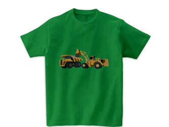 車Tシャツ-ホイールローダーとダンプカー(グリーン)の画像