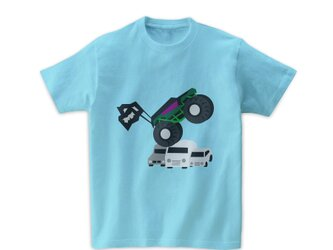 車Tシャツ-モンスタートラック(ライトブルー)の画像