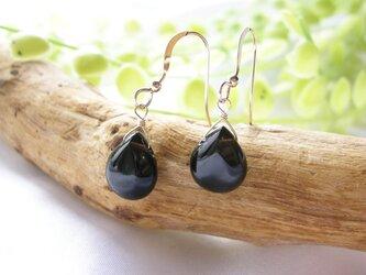 14kgf モリオン黒水晶 マロンカット ピアス or ノンホールピアス 天然石の画像